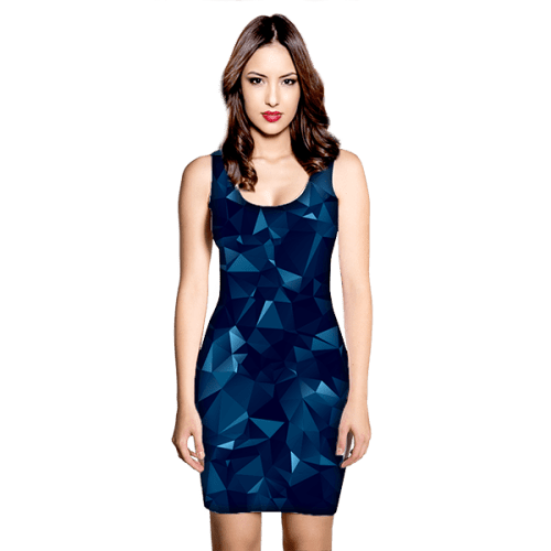 abstract polygonal blue dress mock up slim thick