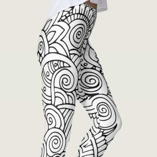 Black and White Floral Mandala Leggings