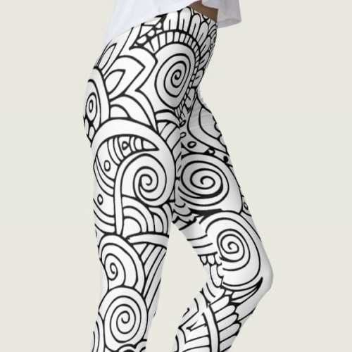 Black and White Floral Mandala Leggings