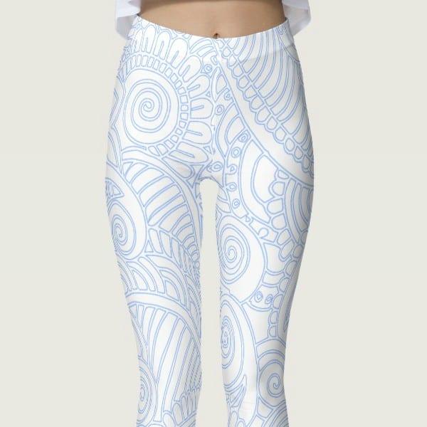 Blue and White Floral Mandala Women's Leggings