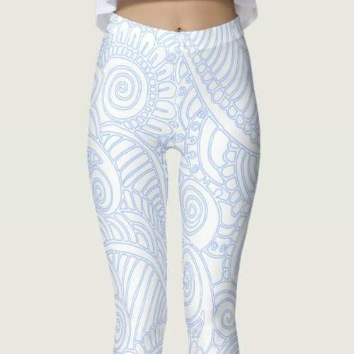 Blue and White Floral Mandala Women's Leggings