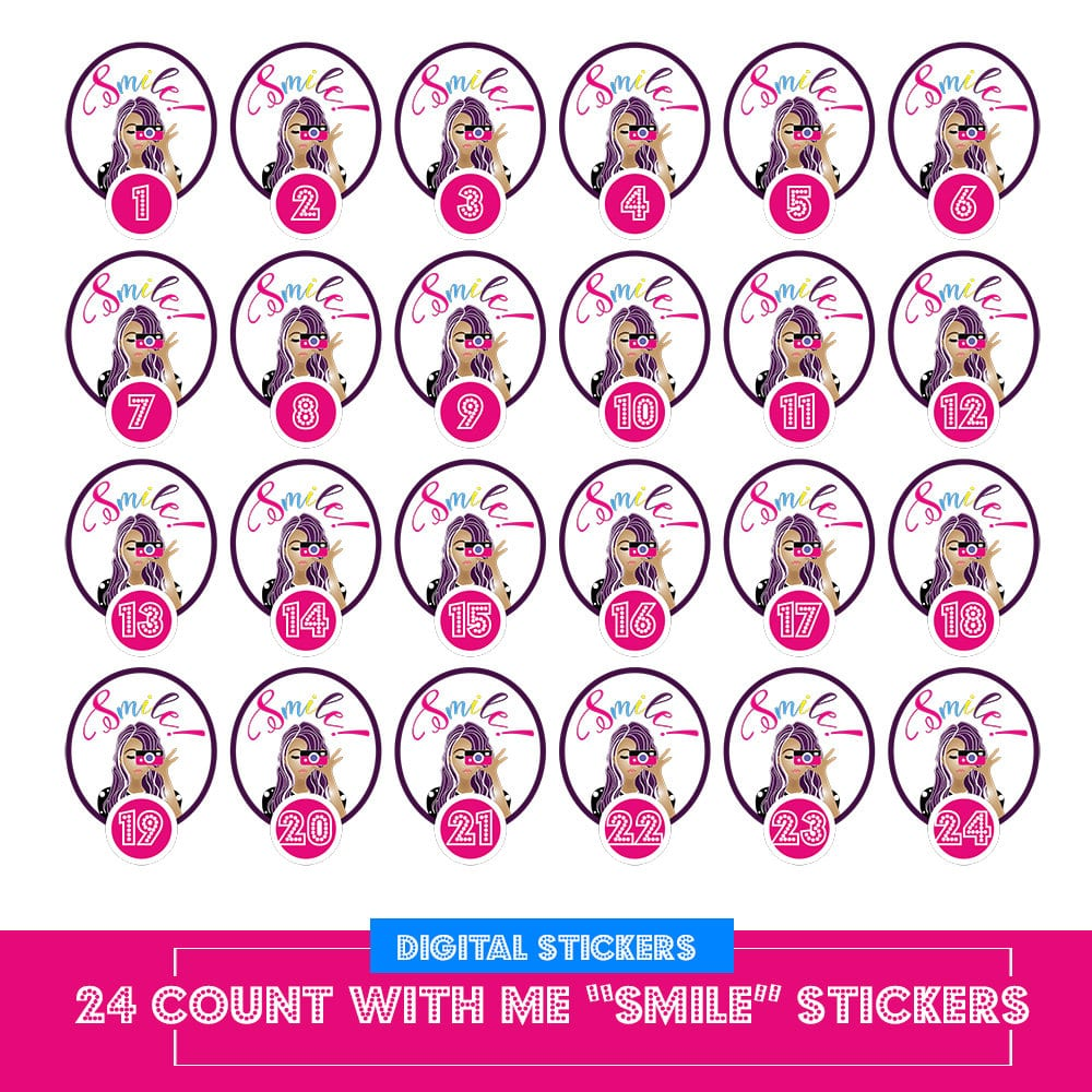 Cute Count With Me Smile Photography Stickers Up to 24 Numbers! Erin Condren and Happy Planner Digital Printable Stickers