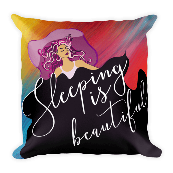 Artistic Hand Illustrated Sleeping is Beautiful Square Pillow