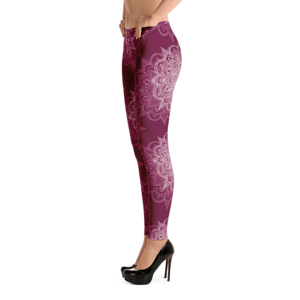 Burgundy Floral Echo Mandala Leggings