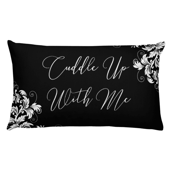 Cuddle Up With Me Classic Black and White Ornamental Rectangular Pillow