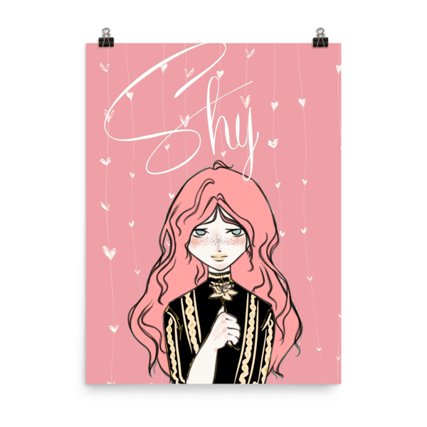 Pink Hearts Shy Girl Matte Poster
