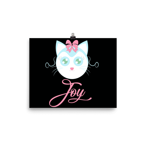 Joyful Cat Dark Wall Art Print Poster