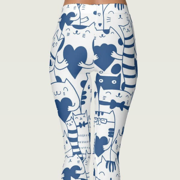 Heart You Blue and White Cat Leggings