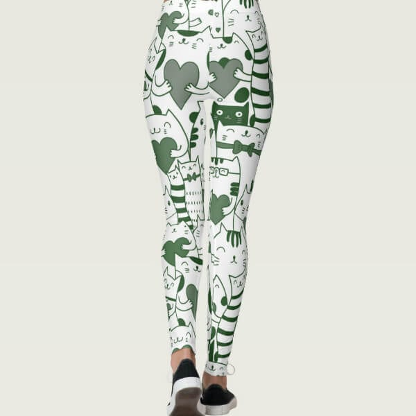 Heart You Green and White Cat Leggings