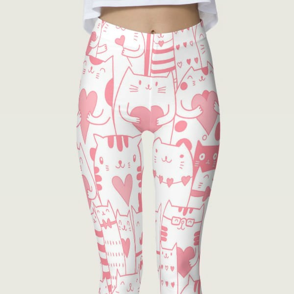 Heart You Printed Kawaii Munchkin Cat Leggings in Pink and White
