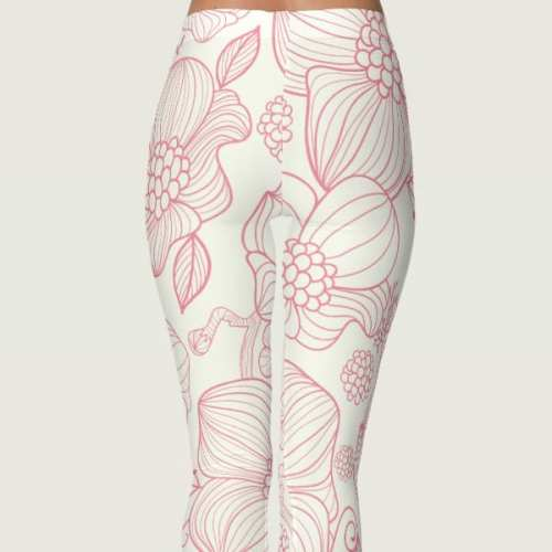 Soft Pretty in Pink Flower Leggings