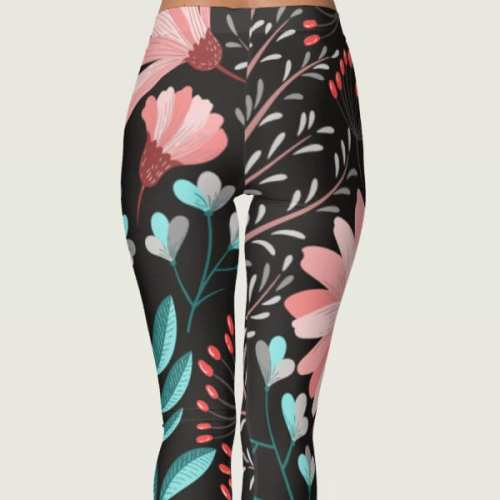 Black Print Pattern Nature Leggings