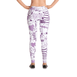Heart You Purple and White Cat Pattern Leggings