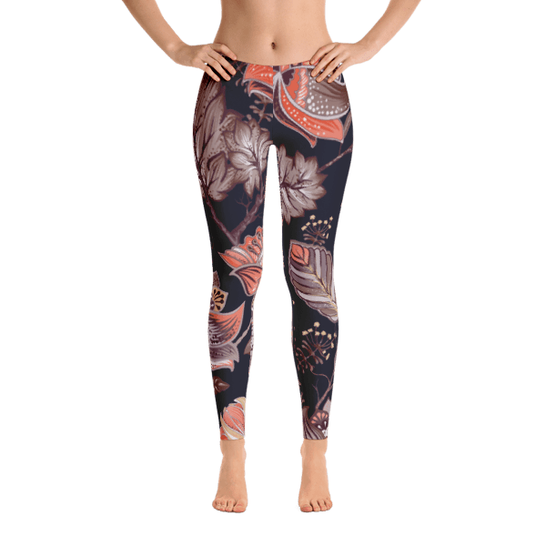 Brown Multi-Color Nature Leaves Pattern Leggings