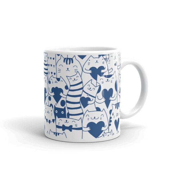 Heart You Multi-Pattern Cats Blue and White Mug