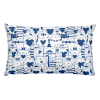 Heart You Blue and White Cat Rectangular Pillow