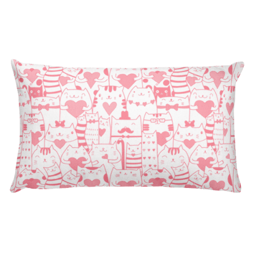 Heart You Pink and White Cat Rectangular Pillow