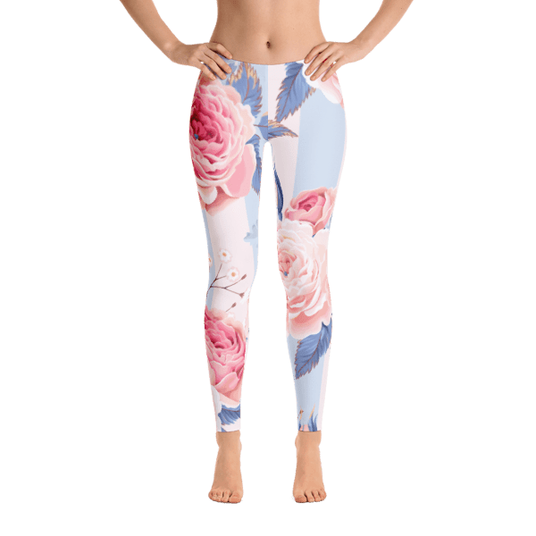 Blue and Pink Floral Leggings