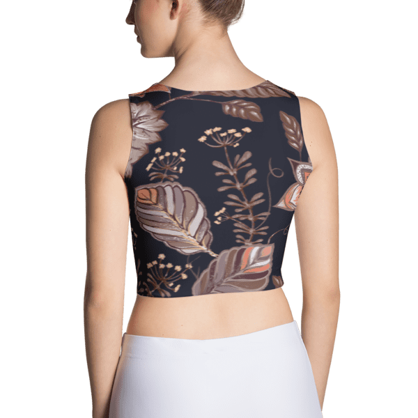 Brown Multi-Color Nature Leaves Pattern Crop Top