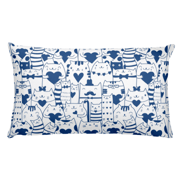 Heart You Blue and White Cat Rectangular Pillow