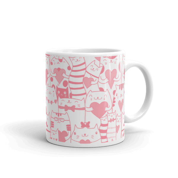 Heart You Multi-Pattern Cat Pink and White Mug