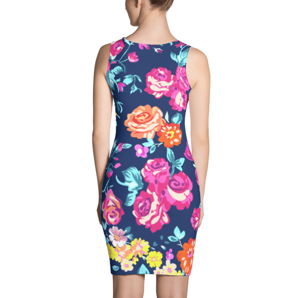 Gorgeous Colorful Chaos Flower Pattern Dress