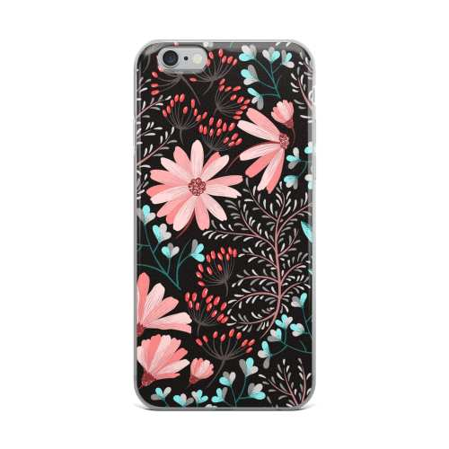 Beautiful Black Rainbow Flower Case, iPhone X Case, Flower Patter iPhone 8 plus case, iPhone 7 Case