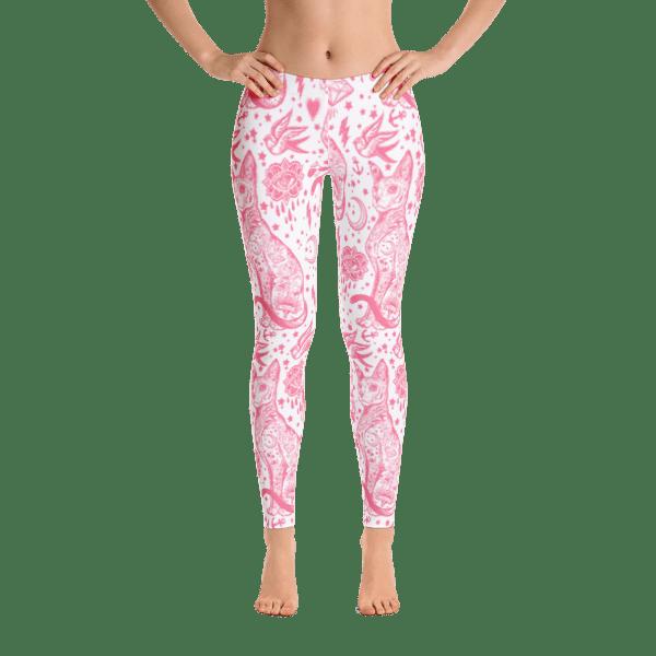 Pink Sphynx Cat Tattoo Printed Leggings