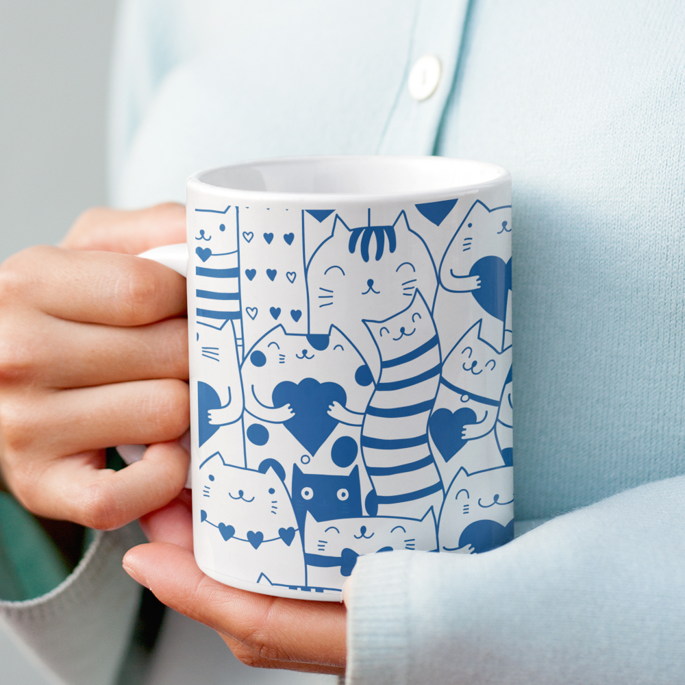 Heart You Multi-Pattern Cats Blue and White Mug