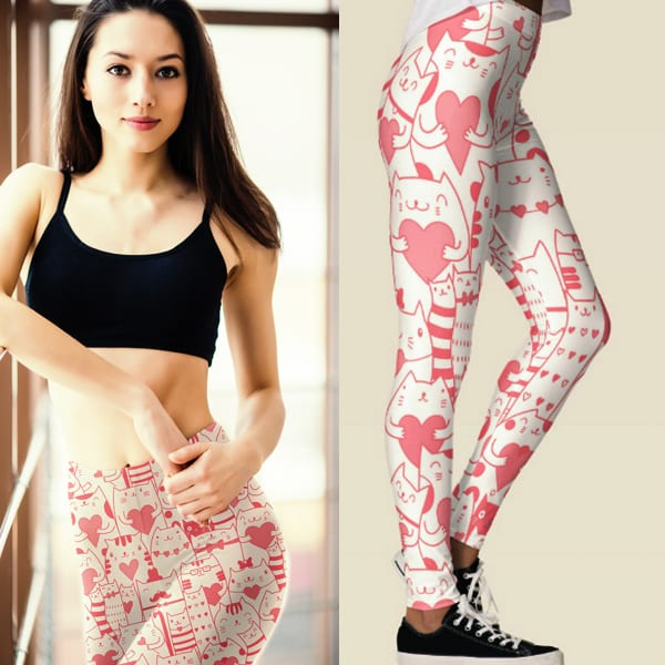 Heart You Kawaii Japanese Anime Munchkin Cat Pattern Leggings in Pink and White