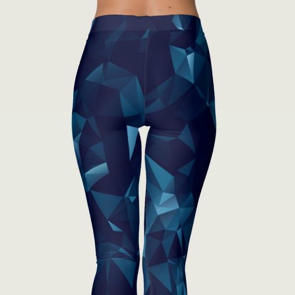 Dark Blue Polygonal Geometric Mesh Leggings