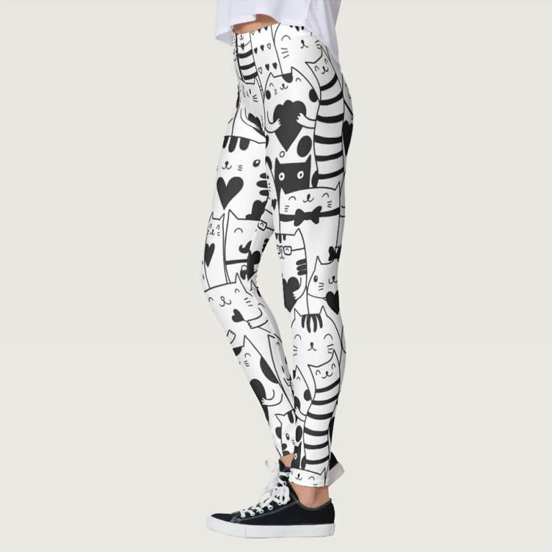 Heart You Valentine Black and White Cat Leggings, cat yoga pants, cat print leggings