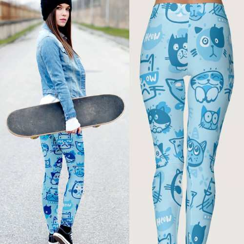 Blue Multi-Pattern Main Coon Cat Leggings