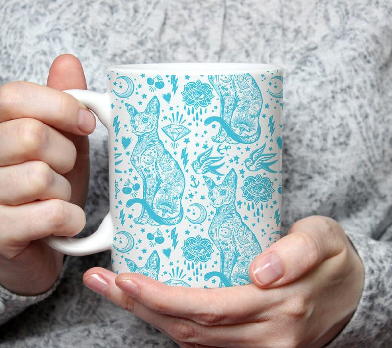 Cat Lover Gift, Sphynx Tattoo Blue and White Cat Pattern Mug