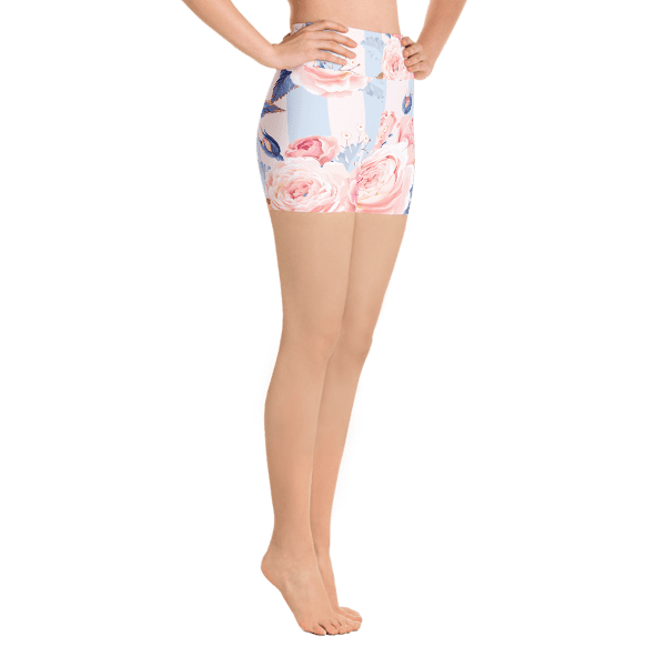 Blue and Pink Floral Yoga Shorts