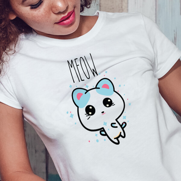 Meow Women's short sleeve Cat t-shirt