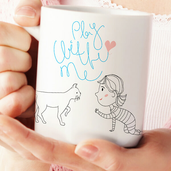 cute play with me cat mug cat lady cup coffee mug