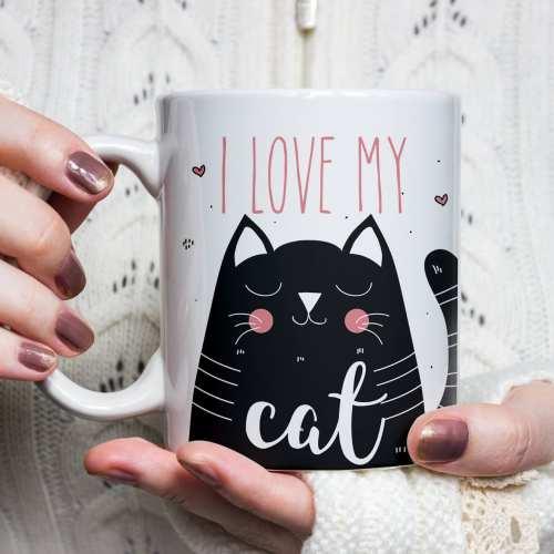 I love My Cat Mug, cat mug, kitten mug, black cat mug, cat lover gift, cute kitten mug