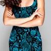Black and Blue Sphynx Celestial Cat Dress For Women