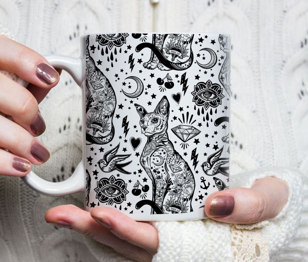 Sphynx Black Cat Coffee Mugs - Sphynx Cat Tattoo Mug, Cat Lover Gift, Bohemian Black and White tattoo Cat Pattern Mug