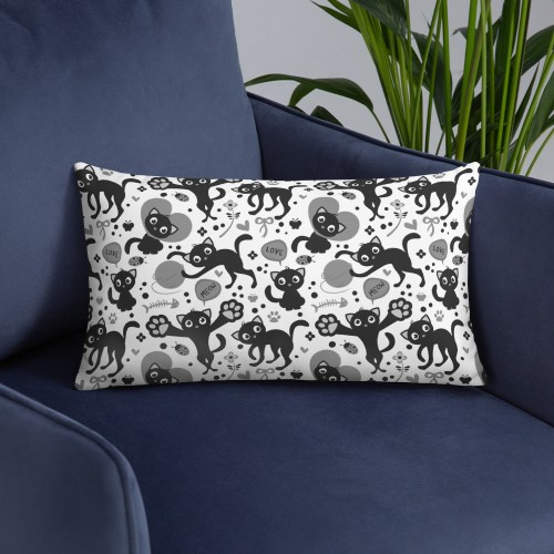 Tabby Cat Lovers Black and White Pattern Valentine's Day Pillow Cover with Insert