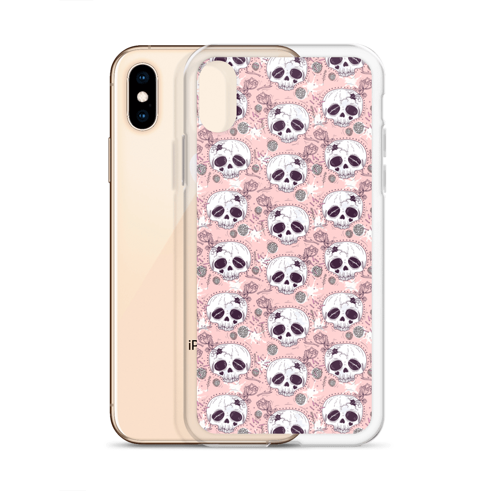 Death Before Cutie Floral Half Skull iPhone Case – iPhone 6s Case, iPhone 8 case, iPhone X case