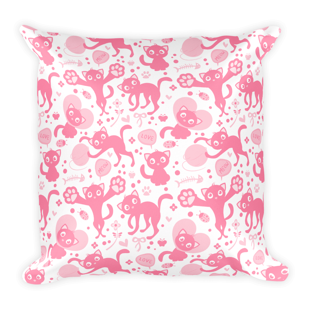 Tabby Cat Love Kittens Pink Pattern Valentine's Day Pillow Cover with Insert