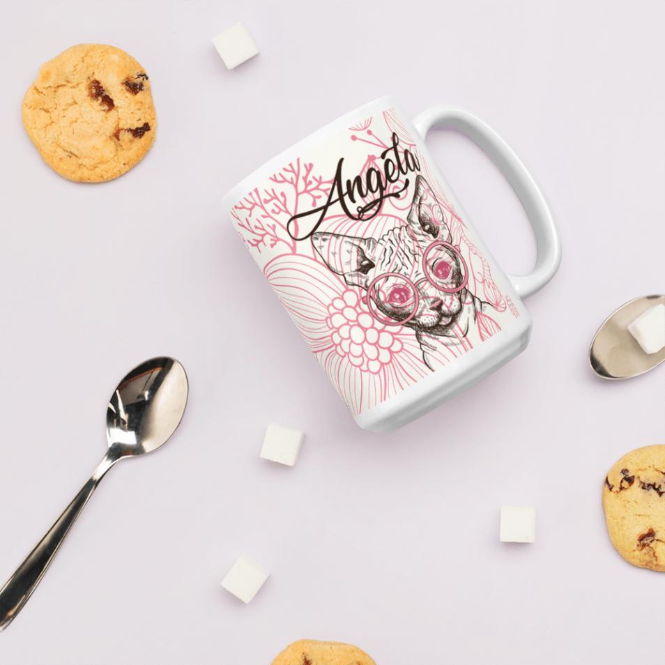 Personalized Valentine Sphynx Geeky Cat Mug - Valentine Cat Lover Mug