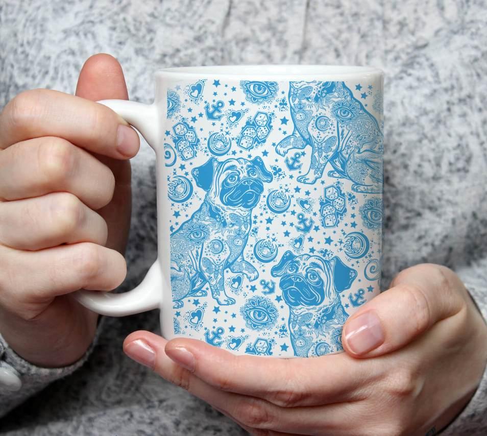 Blue Pug Tattoo Mug – Decorative Pug Art Mug