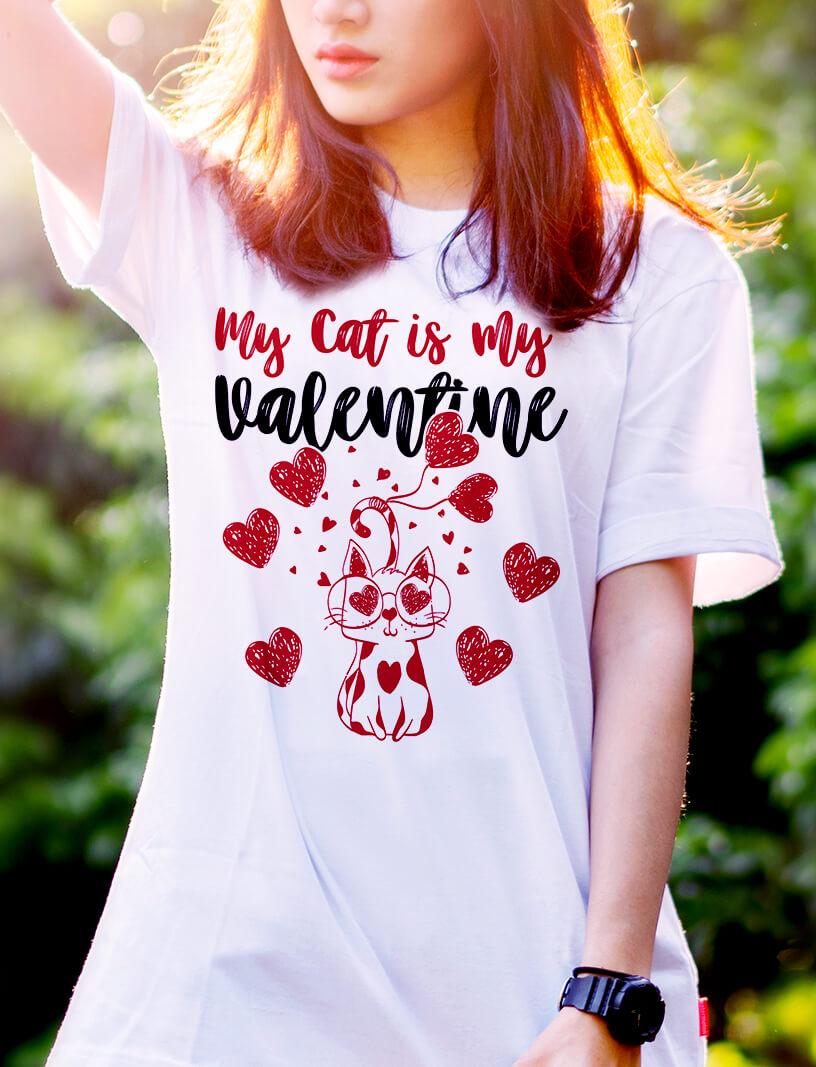 Personalized My Cat is my valentine funny cat Shirt