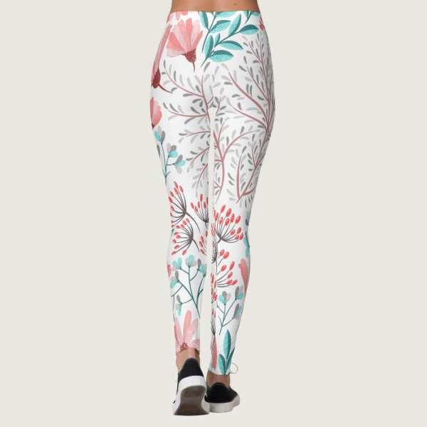 Watercolor Lilac Floral Leggings