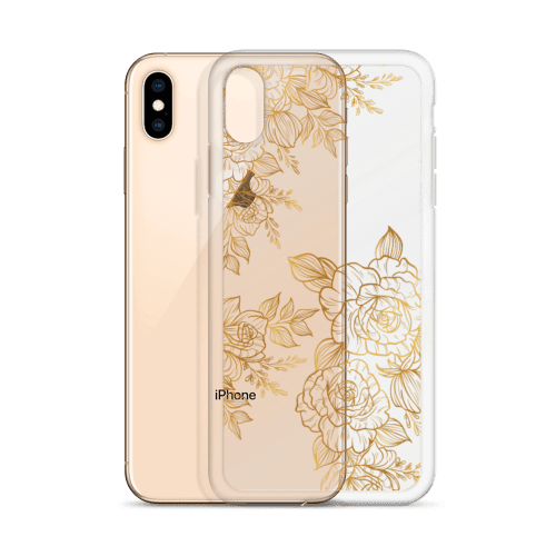 Golden Rose Peony Tattoo iPhone Case