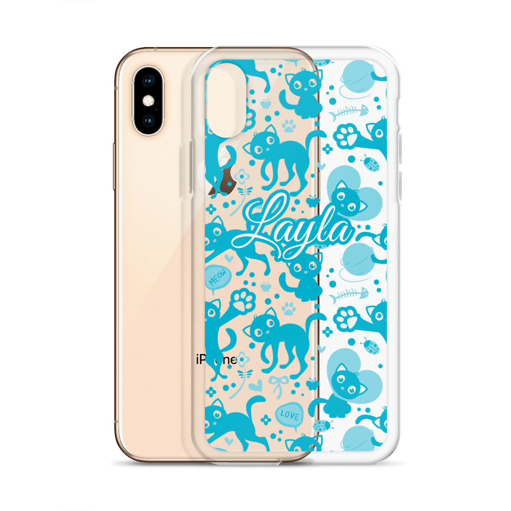 Personalized Blue Munchkin Cat Love iPhone Case