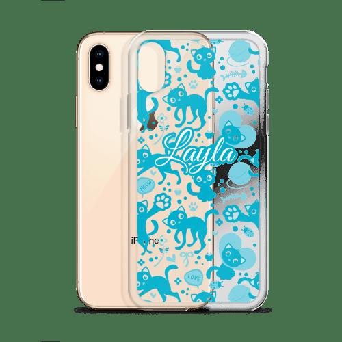 Personalized Blue Munchkin Cat Love iPhone Case